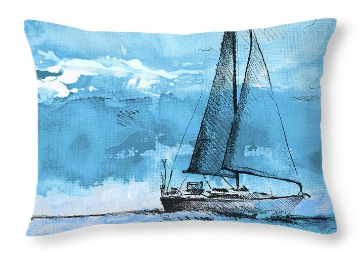 Coastal Boats In Watercolor I Throw Pillow
