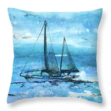 Coastal Boats In Watercolor II Throw Pillow