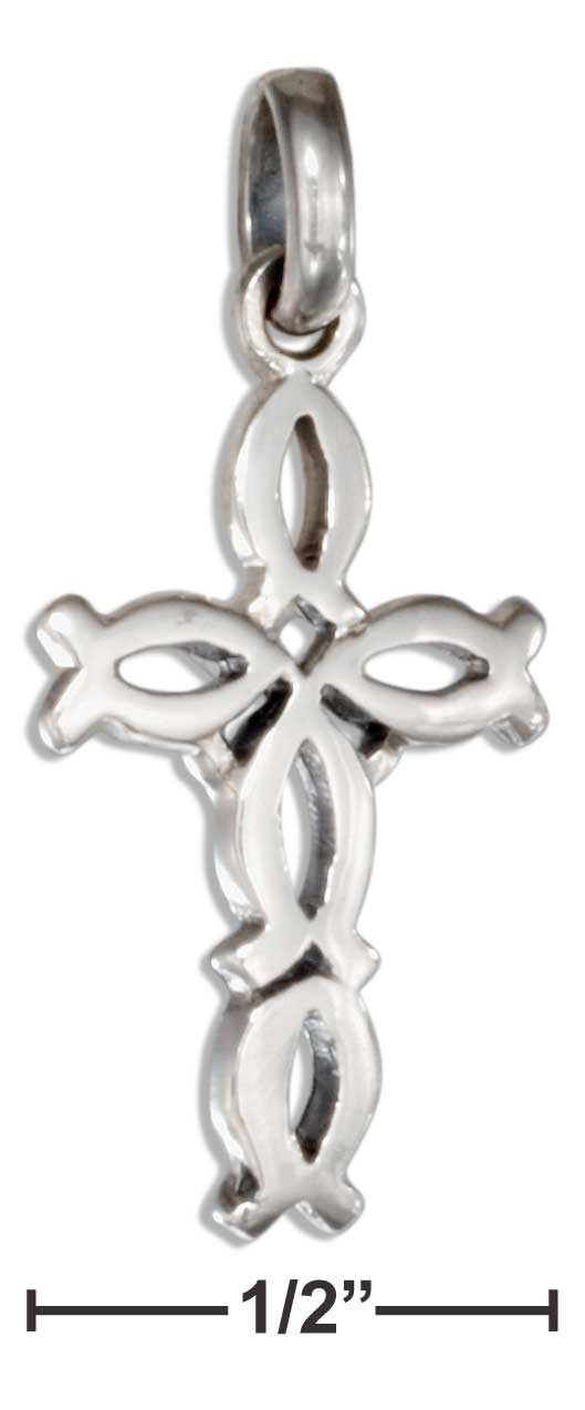 Sterling Silver Small Life Fish Cross Pendant