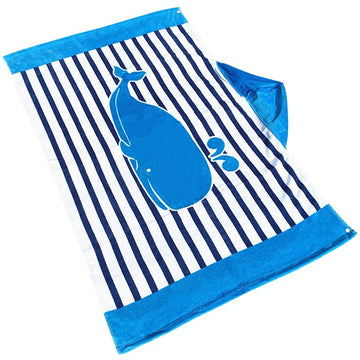 Hooded Towel Beach Wrap Children Kids Large Poncho Hooded Bath Swim Towel Quick Dry Bathrobe (Whale)