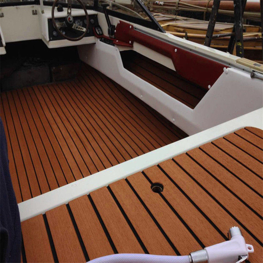 Faux Boat Decking Sheet/Marine Flooring 600x2400x5mm Self-Adhesive Brown Black Teak Decking