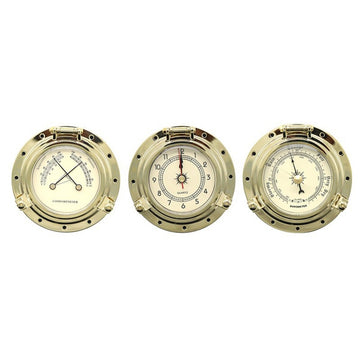 3pcs 60mm ~2.5 inch Gold Chrome Dial Thermometer Hygrometer Clocks for Marine Camper Van Caravan