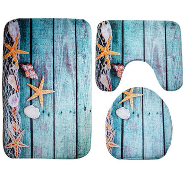 Marine bathroom mat set 3 piece