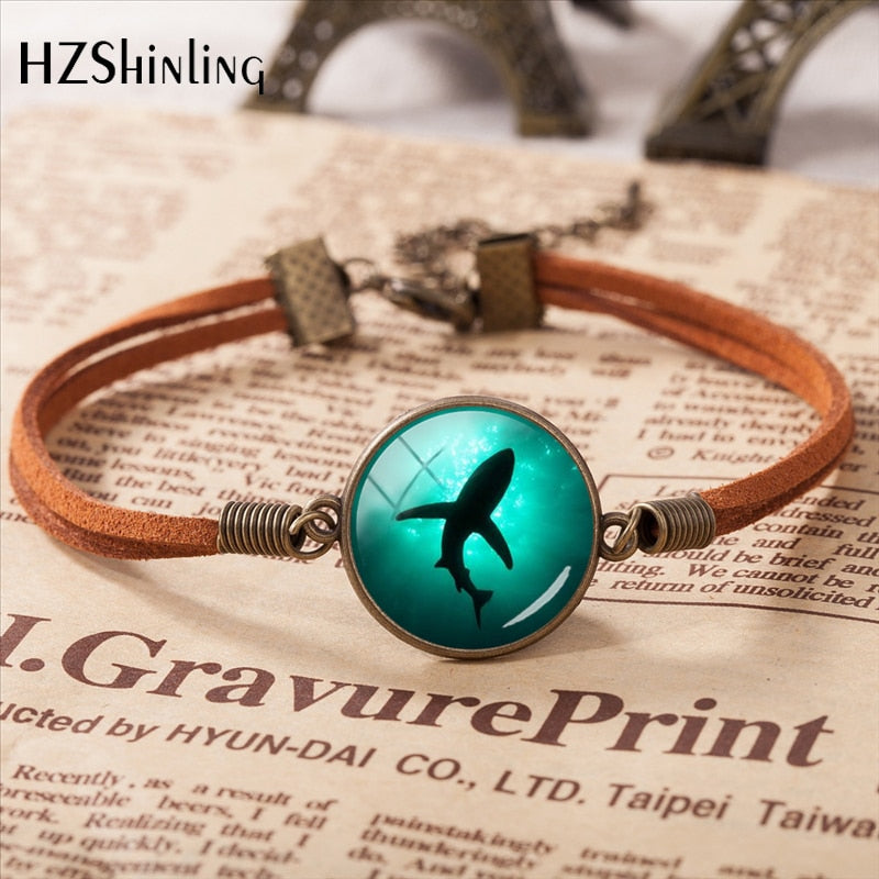 Shark Glass Leather Bracelet