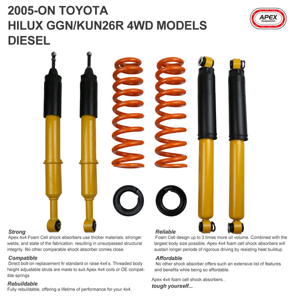 Lift Kits for Toyota Hilux GGN/KUN26R 4WD Diesel 2005-ON without Leaf Springs