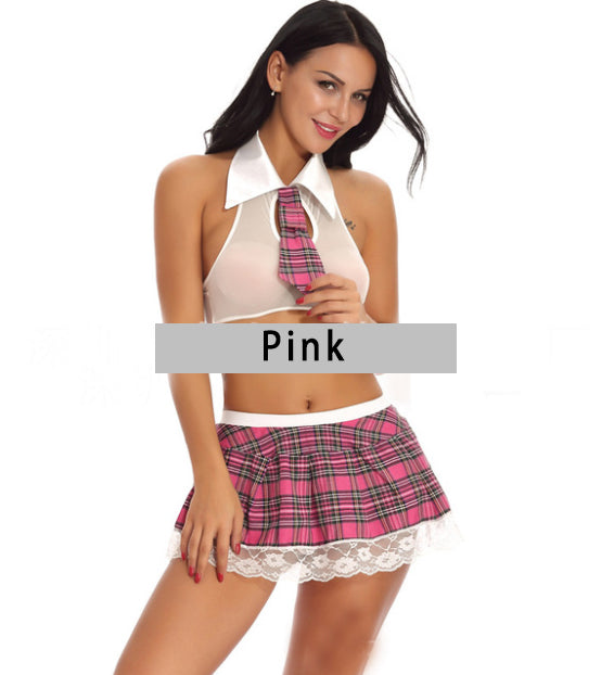 FITS Women Sexy Lingerie School Girl Uniform Costume Outfit Mini Skirt Roleplay Sets
