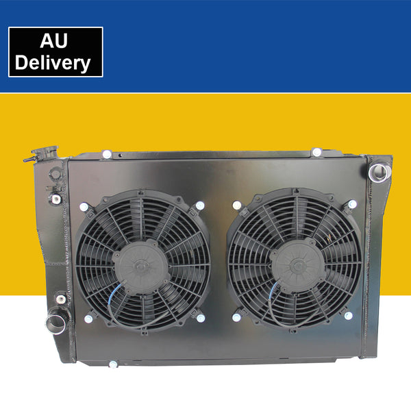 ALUMINUM RADIATOR for FORD FALCON XC XD XE XF BLACK +FAN SHROUD 77-86 + COOLANT