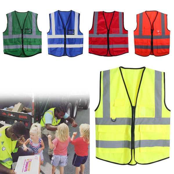 Multicolor HiVis Safety Vest 5 Pocket Zip Reflective Jacket Security Waistcoat