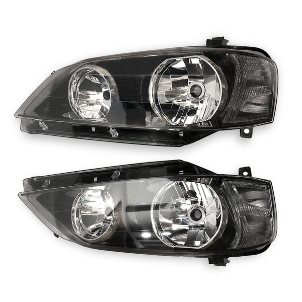 Fits A Pair LH+RH Head Light Lamp Black For Ford Falcon BA BF Series 1 XT 02~06