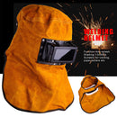 Solar Auto Darkening Filter Lens Welder Leather Hood Welding Helmet Mask