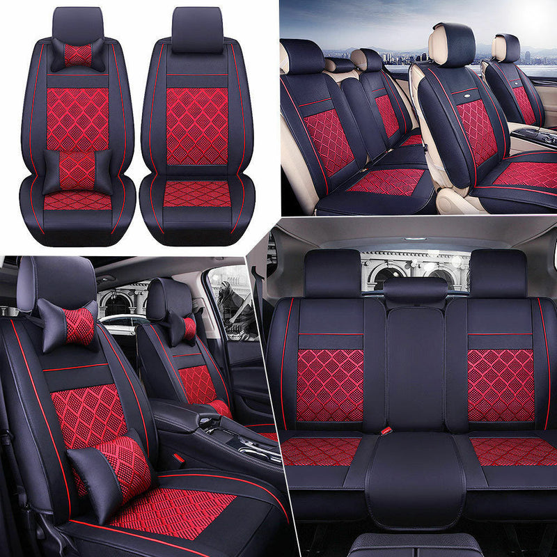 FITS AU Car PU Leather Seat Cover 5-Seats Front+Rear Cushion w/Pillows Black&Red Set