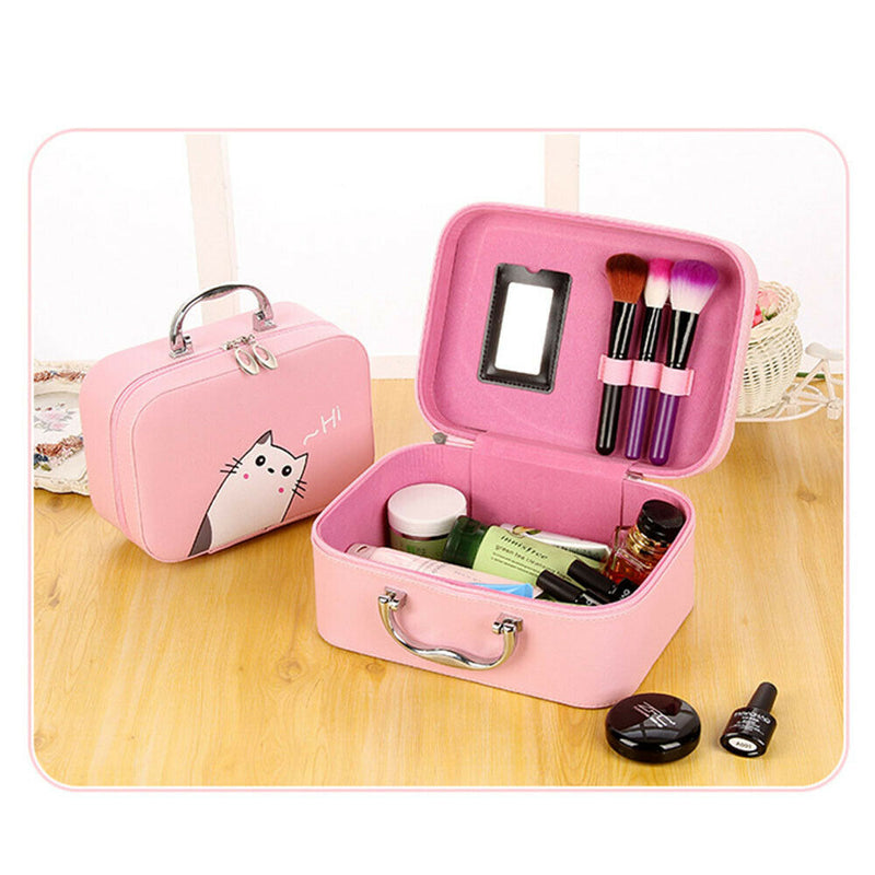 Portable Cosmetics Makeup Case Mirror Organiser Carry Beauty Box