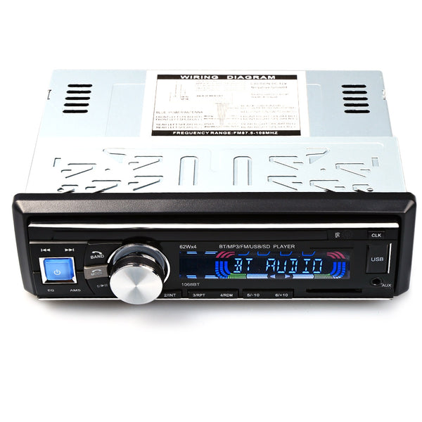 1068 12V Car Audio Stereo FM Bluetooth V2.0 USB SD Mp3 Player AUX Mic Hands-free with Remote Control