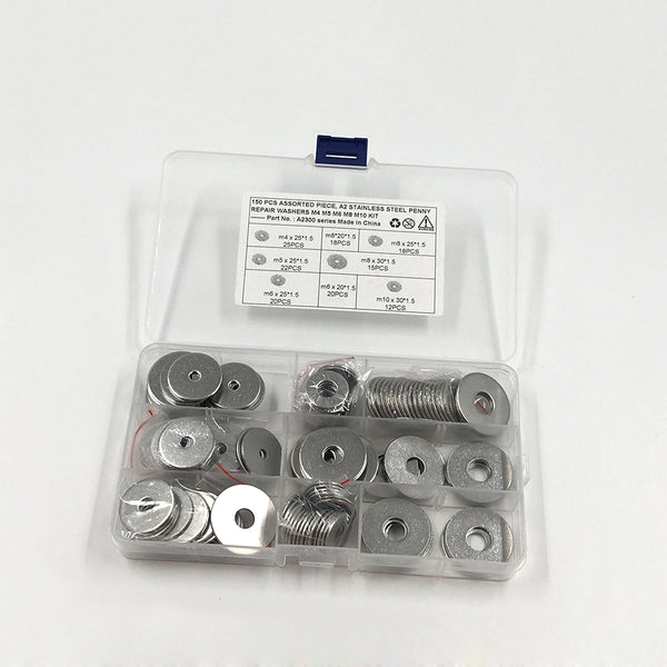 150 ASSORTED PIECE, A2 STAINLESS STEEL PENNY REPAIR WASHERS M4 M5 M6 M8 M10 KIT