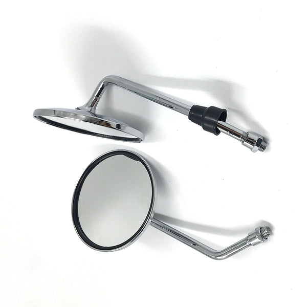 CHROME ROUND 8MM/10MM THREAD MOTORBIKE MIRRORS UNIVERSAL MOTORCYCLE/BIKE PAIR