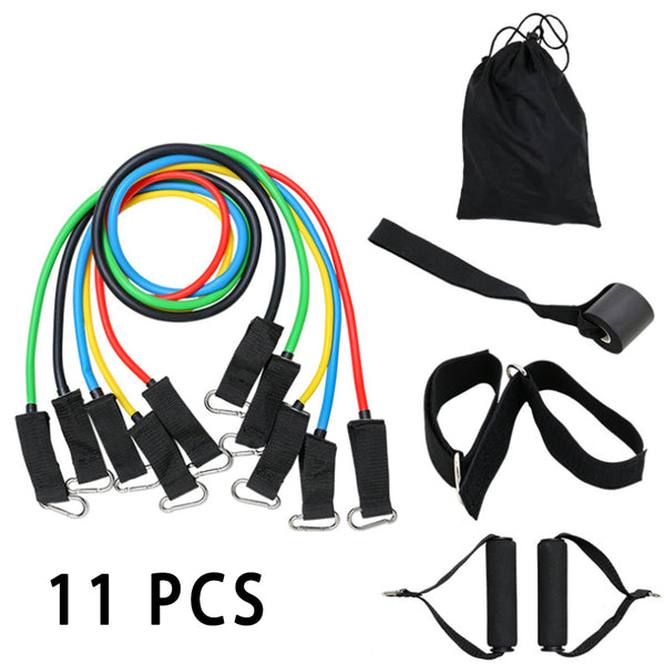 FITS 11 PCS Resistance Bands Workout Exercise Yoga Set Fitness Tubes
