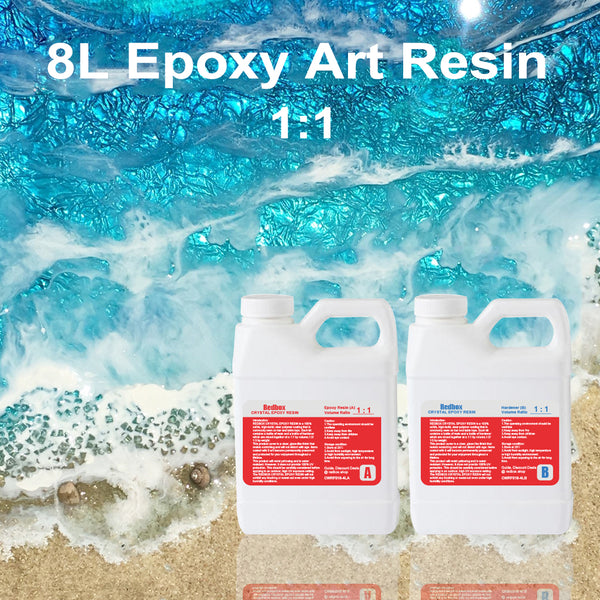 8Ltr Epoxy Art Resin Kit 1:1 Glass & Water Clear Epoxy Coating UV FREE FREIGHT