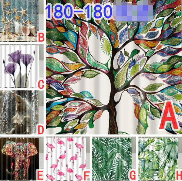 Fabric Bathroom Shower Curtain 12 Hook Set Water Resistant Tropical Plants Panel