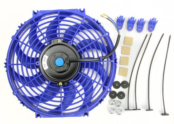 "12"" Electric Radiator Cooling Fan Universal Curved Blades Blue"