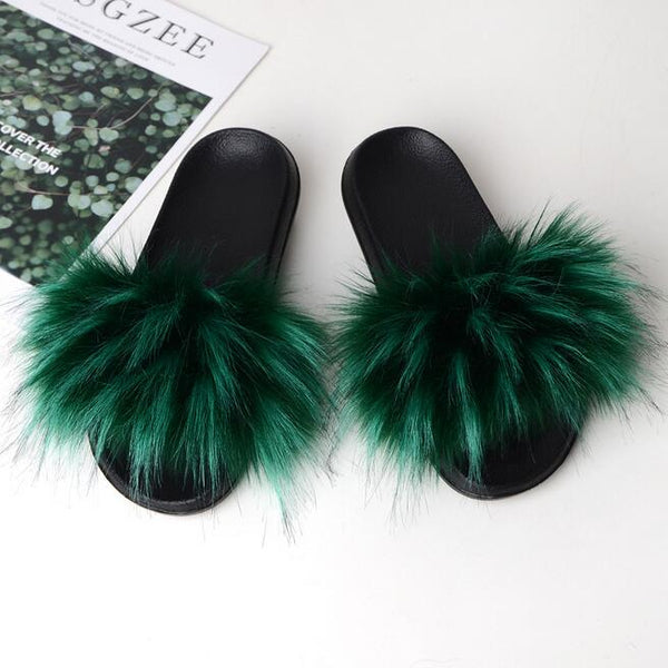 Fits Women Slippers Sandals Fur Flat Shoes Fluffy Flip Flop Outer wear