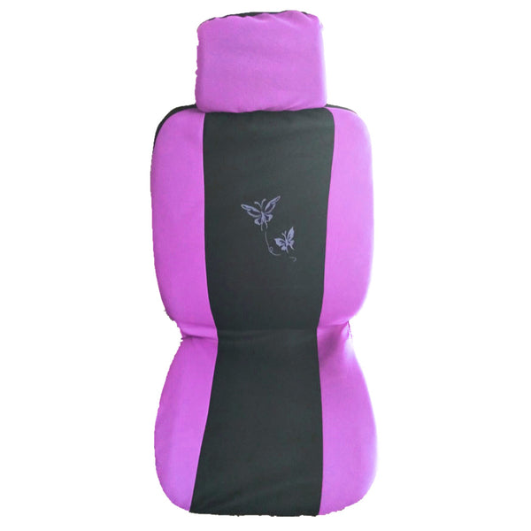 9PCS Purple Butterfly Seat Cover Universal Car Seat Cover Front /Rear Seat