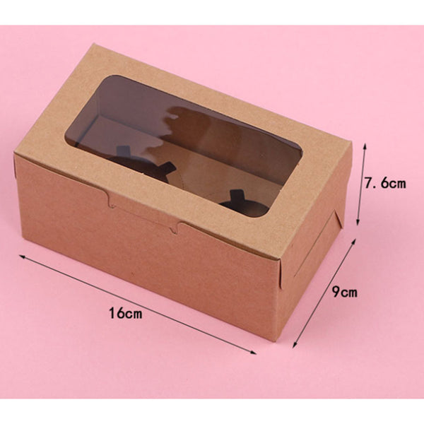 FITS 10 Bags Cupcake Box 2/4/6 Holes Window Face Party Wedding Baby Xmas Gift Boxes