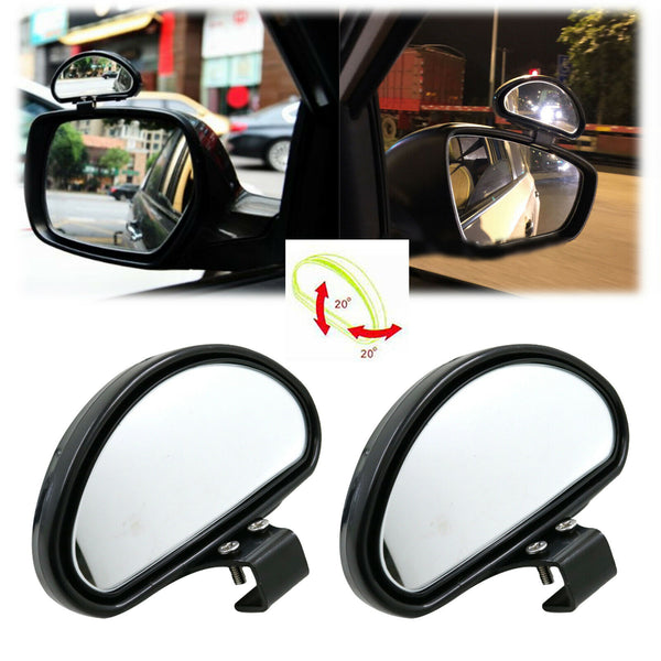 2Pcs Convex Clip On Half Oval Rearview Conter Blind Spot Auxiliary Side Mirrors