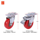 "4"" Castor Trolley Wheels 4pcs For Furniture Caste 2 with Brake power Load"