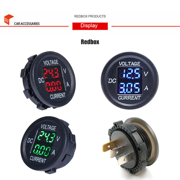 12-24V Car Motorcycle DC Dual LED Digital Voltmeter Ammeter Amp Volt Meter Gauge