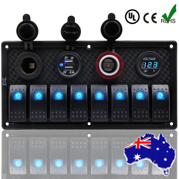 8 Gang Waterproof Marine Switch Panel, Rocker Switch ARB - Boat/Caravan/4x4