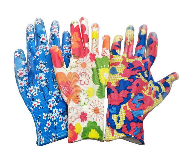 12 Pairs Of Printed Nylon Pu Grip Safety Work Gloves Builders Gardening Mechanic