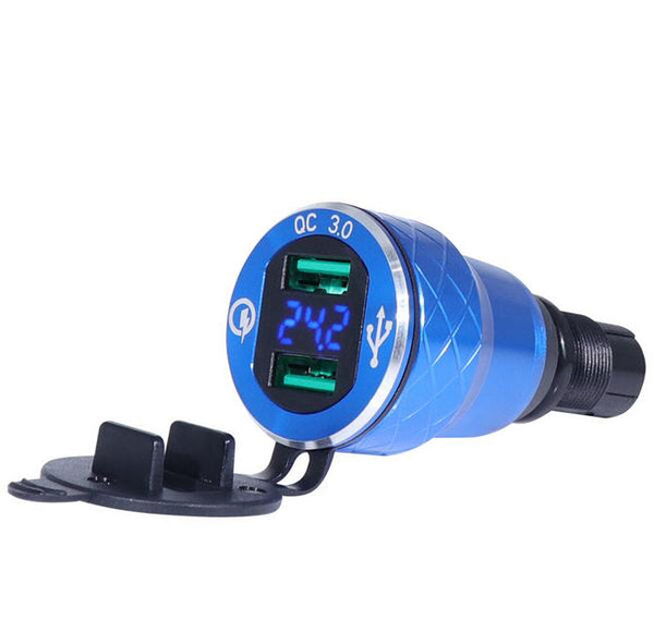 Motorcycle Dual USB Charger DIN Socket Voltmeter For BMW Motorbike EU Plug