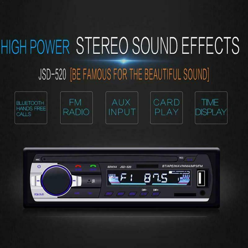 Player FM Car Radio Receiver Bluetooth JSD-520 Audio SD/USB/AUX MP3 Stereo