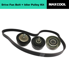 Drive Fan Belt + Idler Pulley Kit fits Hilux 3.0L Diesel 1KD-FTV KUN16 KUN26