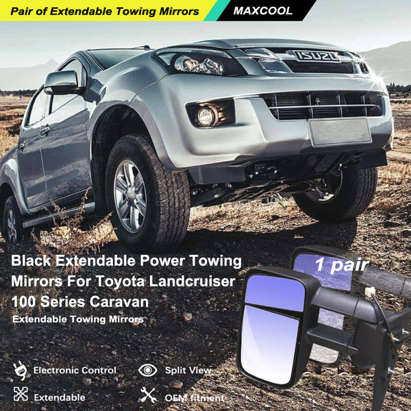 Black Extendable Power Towing Mirrors fits For Toyota Landcruiser 100 Series