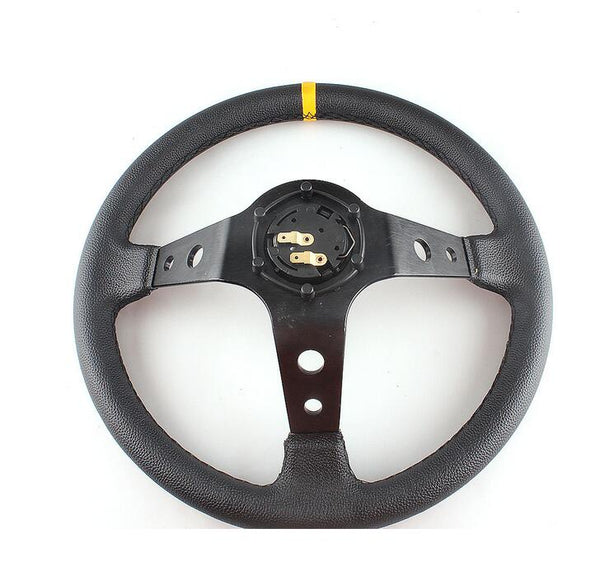 350MM Deep Dish Steering Wheel Suede Leather Fits MOMO OMP NARDI BOSS HUB