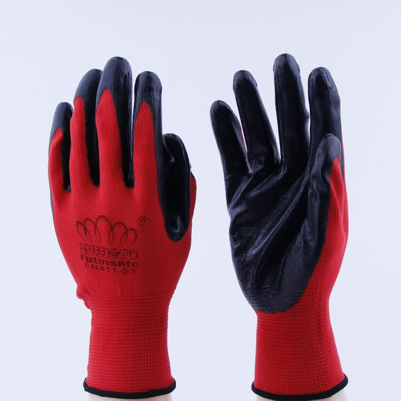 12 Pairs Work Safety Nitrile Glove Foam Breathable Hand Palm Protection Mechanic