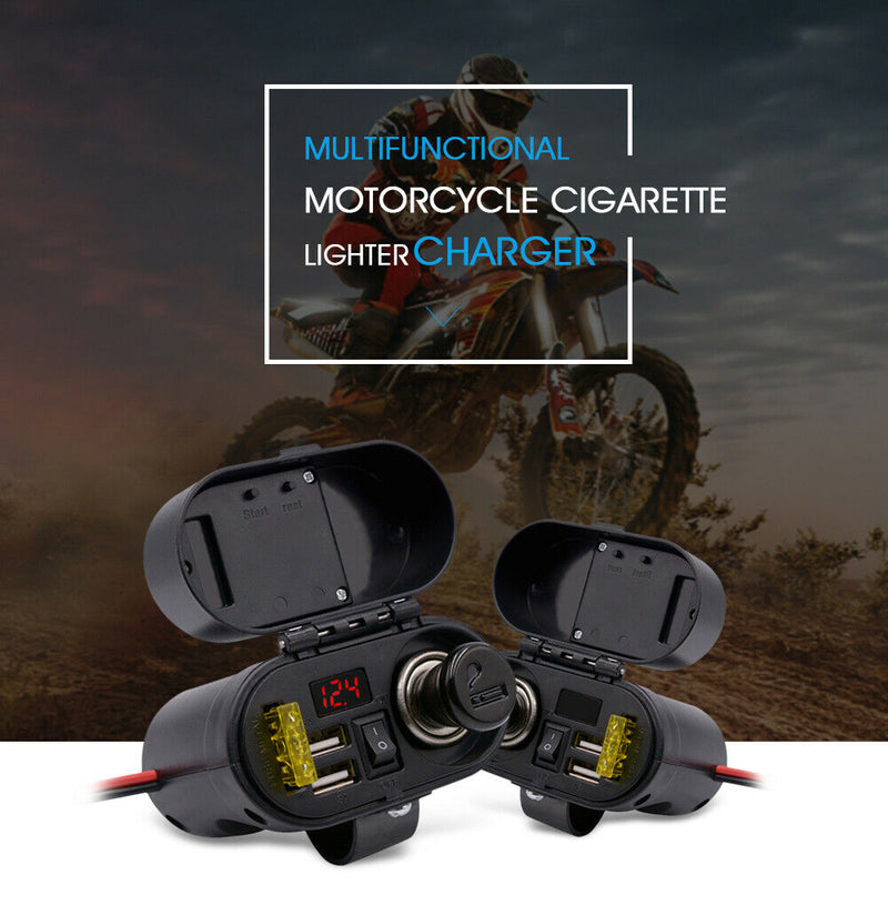 Motorcycle Voltmeter Display Time with - Cigarette CS Lighter USB Charger 682A1
