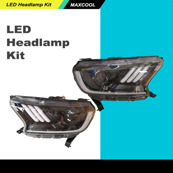 Left&right Projector LED Headlamp Kit W/H11 Bulb Fit FORD Ranger T7 PX MK2 16-ON