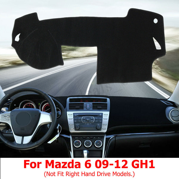 Black Dashboard Cover Dashmat Dash Mat Pad Sunshade For Mazda 6 2009-2012 LHD