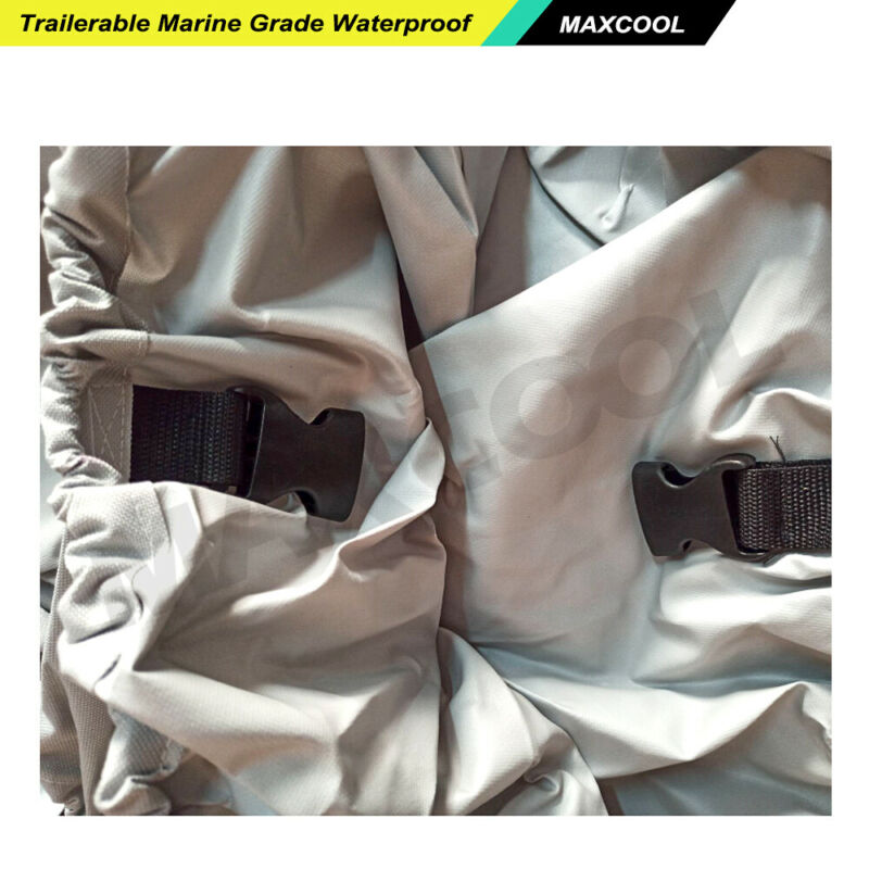 16-18.5ft Boat Cover Trailerable Marine Grade Waterproof 600D Heavy Duty