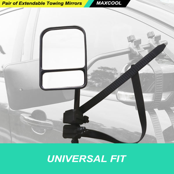 Manual 2x UNIVERSAL TOWING MIRRORS FIT STRAP ON TOWING CARAVAN 4X4 TRAILER
