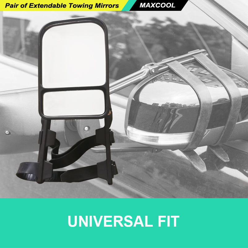 2 X UNIVERSAL TOWING MIRRORS FIT STRAP ON TOWING CARAVAN 4X4 TRAILER HEAVY DUTY