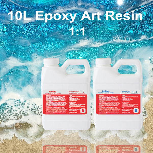 10Ltr. Epoxy Art Resin Kit 1:1 Glass & Water Clear Epoxy Coating UV FREE FREIGHT