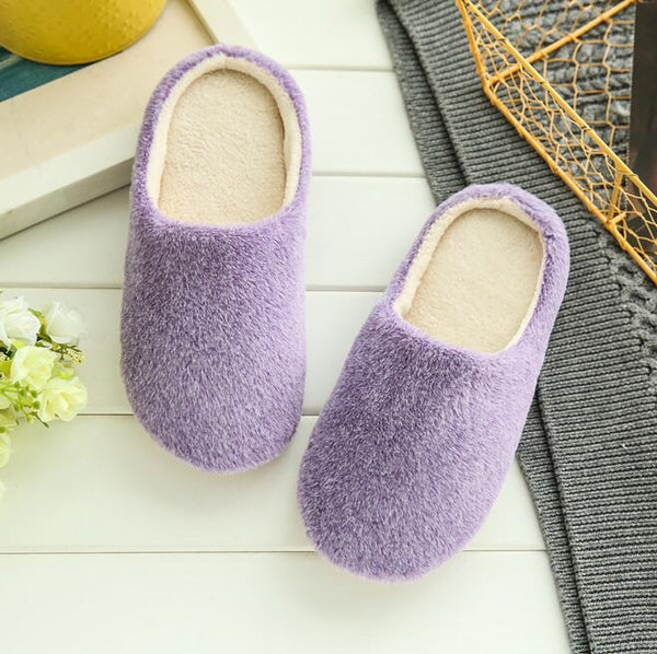 Fits Winter Warm Women Fleece Anti-Slip Soft Indoor Home Slippers Shoes