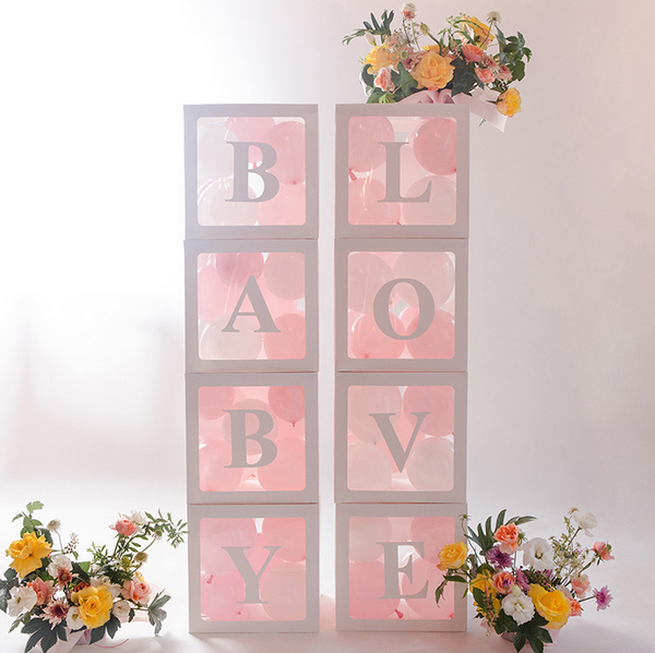 4Pcs/Set LOVE BABY Balloon Box Cube Clear Gift Boxes Birthday Baby Shower Party Valentine's Day Decor