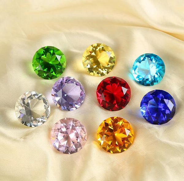 5pcs Crystal Diamond Colour Paperweights Glass Gem Gift Home Display Ornament