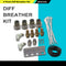 DIFF BREATHER KIT 4 point universal fits Toyota Landcruiser Hilux Prado BLACK