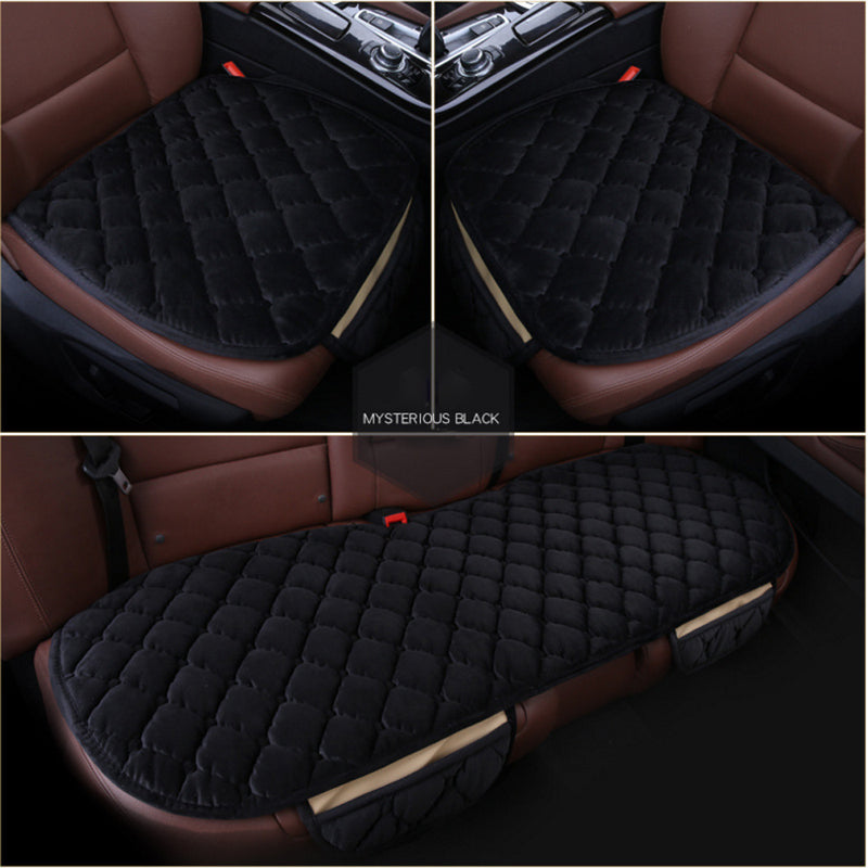 FITS 3 PCS Universal Car Plush Seat Cover Universal Front Back Protector Rear Cushion