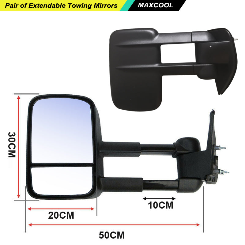 Manual Extendable Mirrors Fits Isuzu D-MAX Holden Colorado RG 2012+ No Indicator